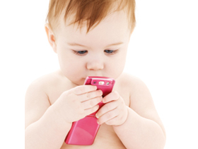 picture of baby boy in diaper with pink cell phone